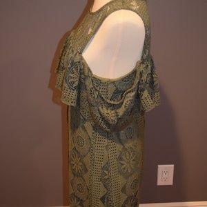 Francesca's Collections Dresses - Green Cold Shoulder Short Dress
